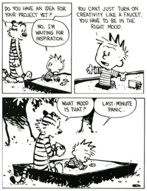 Calvin and Hobbes comic strip waiting for inspiration