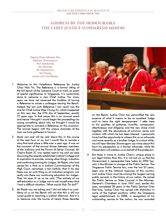 Valedictory Speech in honour of Justice Chao Hick Tin by Law Society Singapore