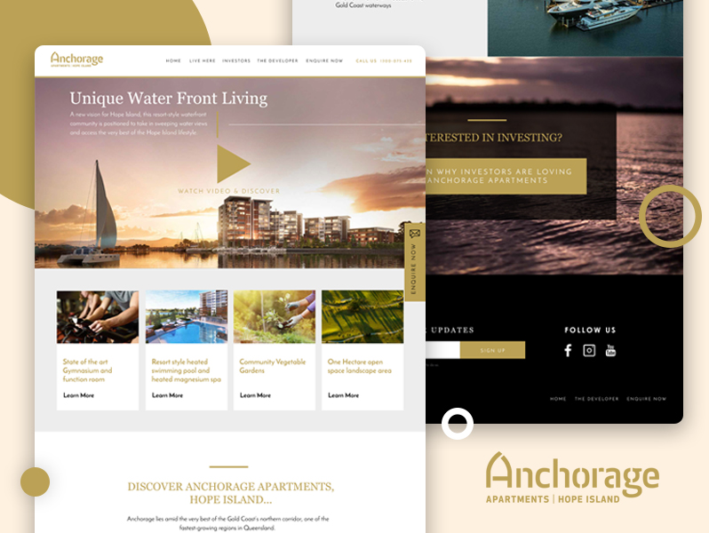 Anchorage Gold Coast property real estate landing page and website design
