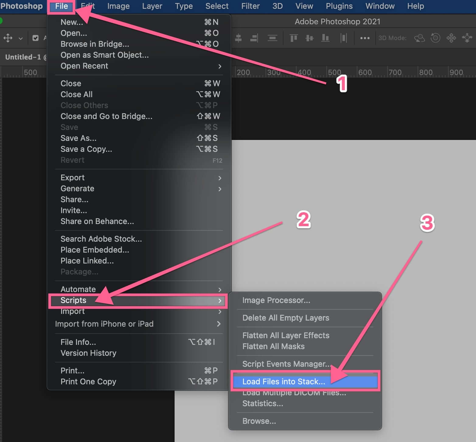 Load files into stack on Photoshop