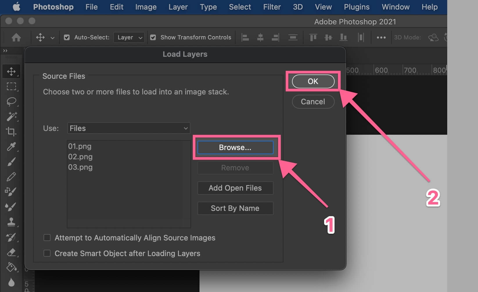 Browse for files to load layers to Photoshop document