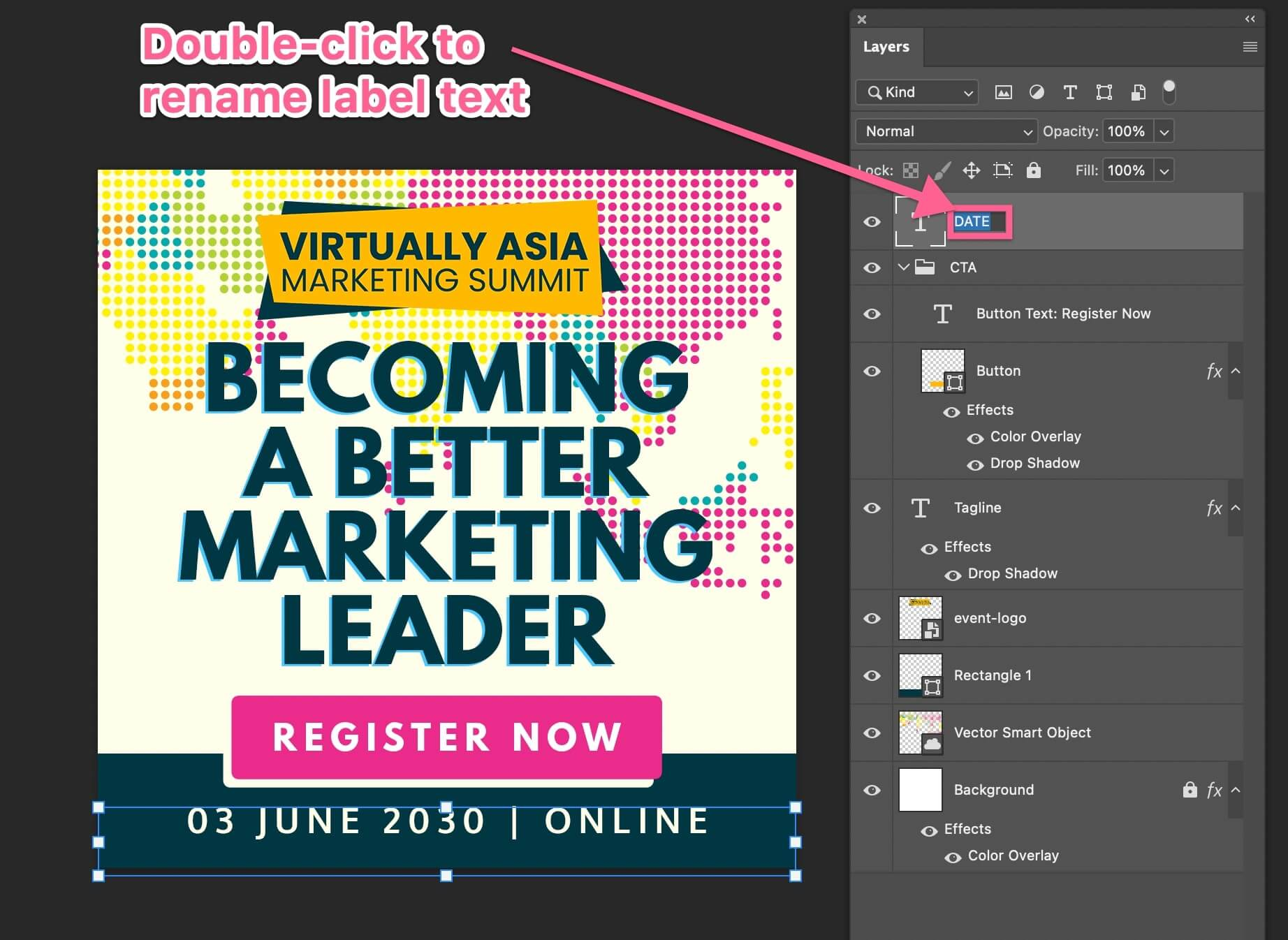 double-click layer to change label or name in Photoshop