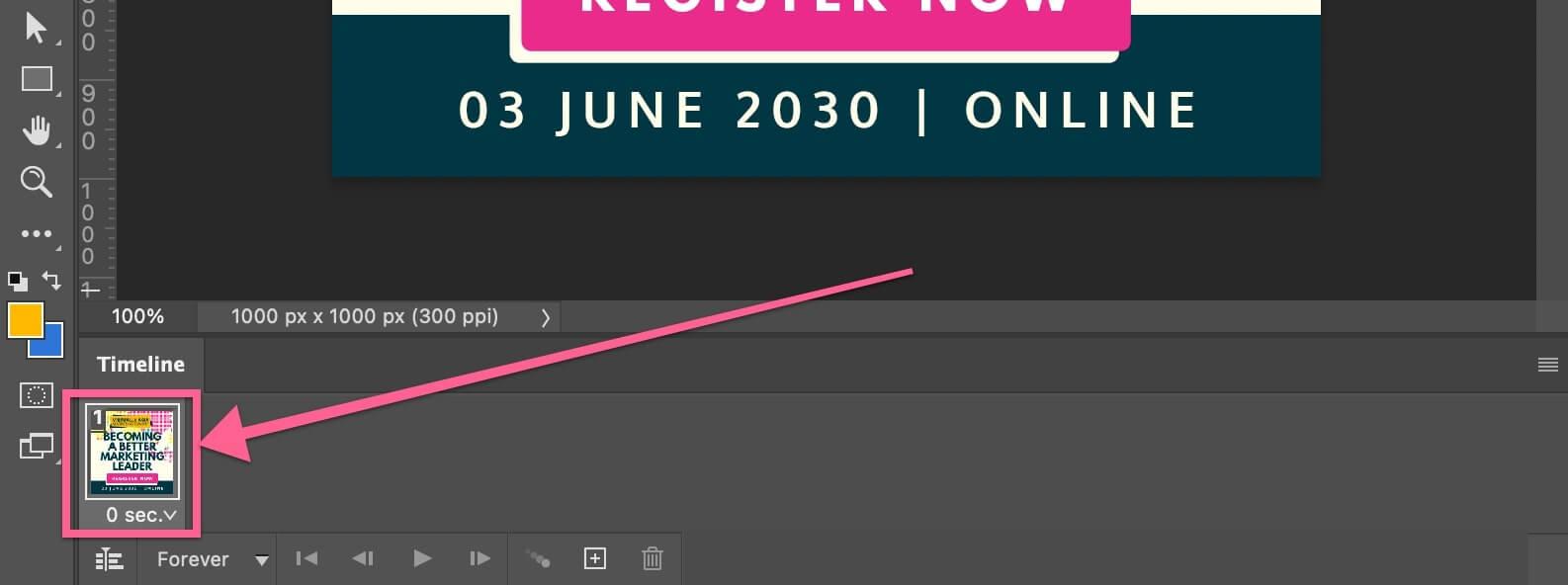Timeline window thumbnail of GIF animation in Photoshop