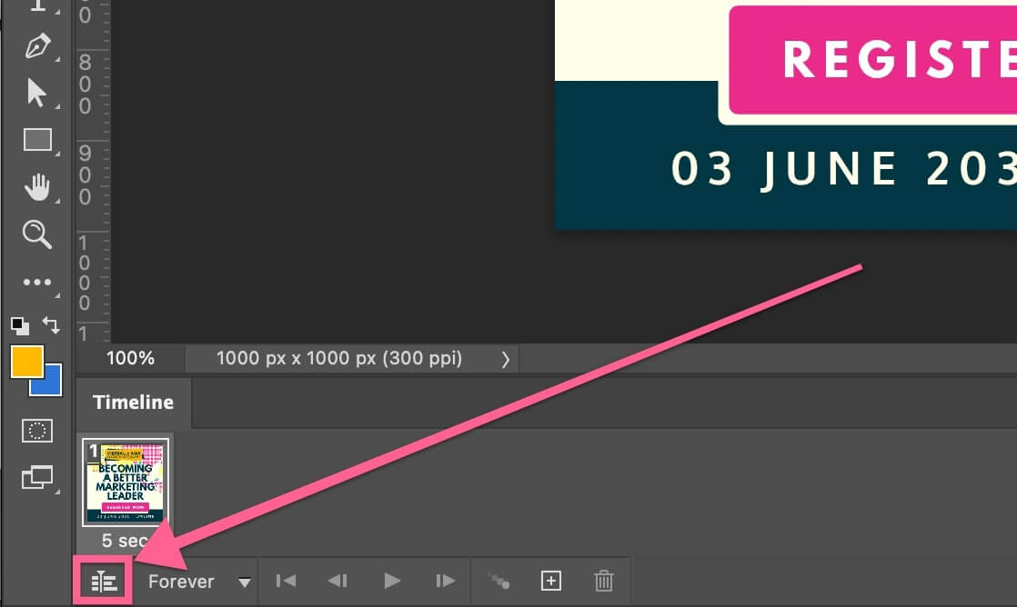 Convert to video timeline in Photoshop