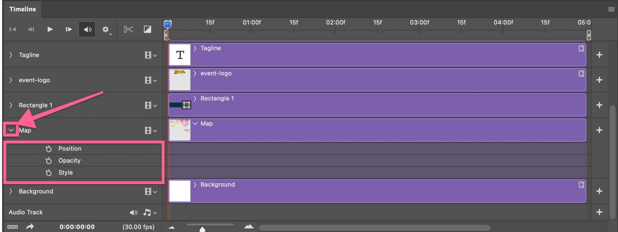 Keyframe position opacity style in timeline Photoshop
