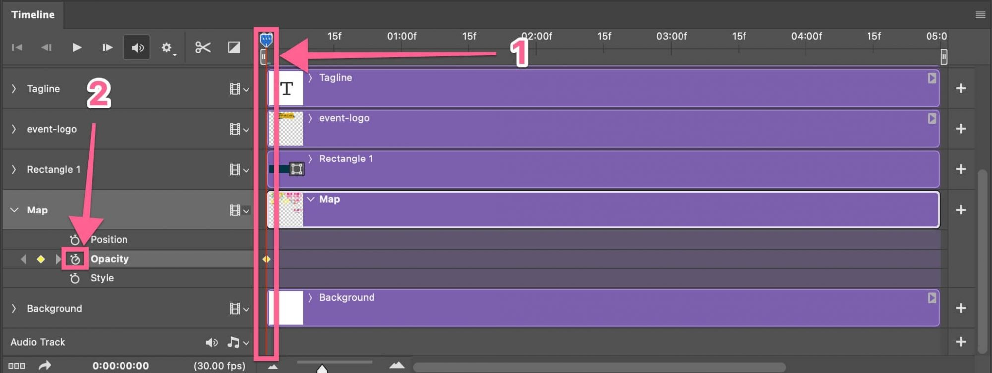 Check opacity function keyframe in timeline Photoshop