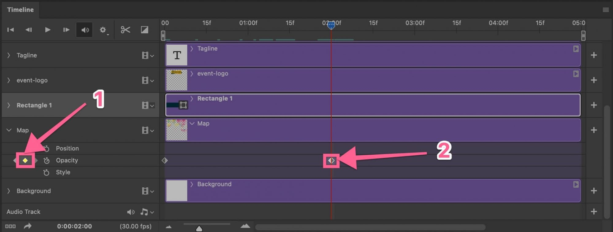 How to end or stop opacity in timeline in Photoshop