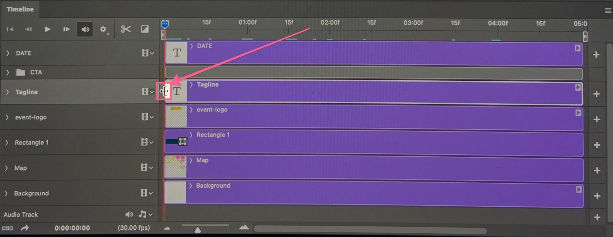 Drag timeline keyframe for each layer in Photoshop