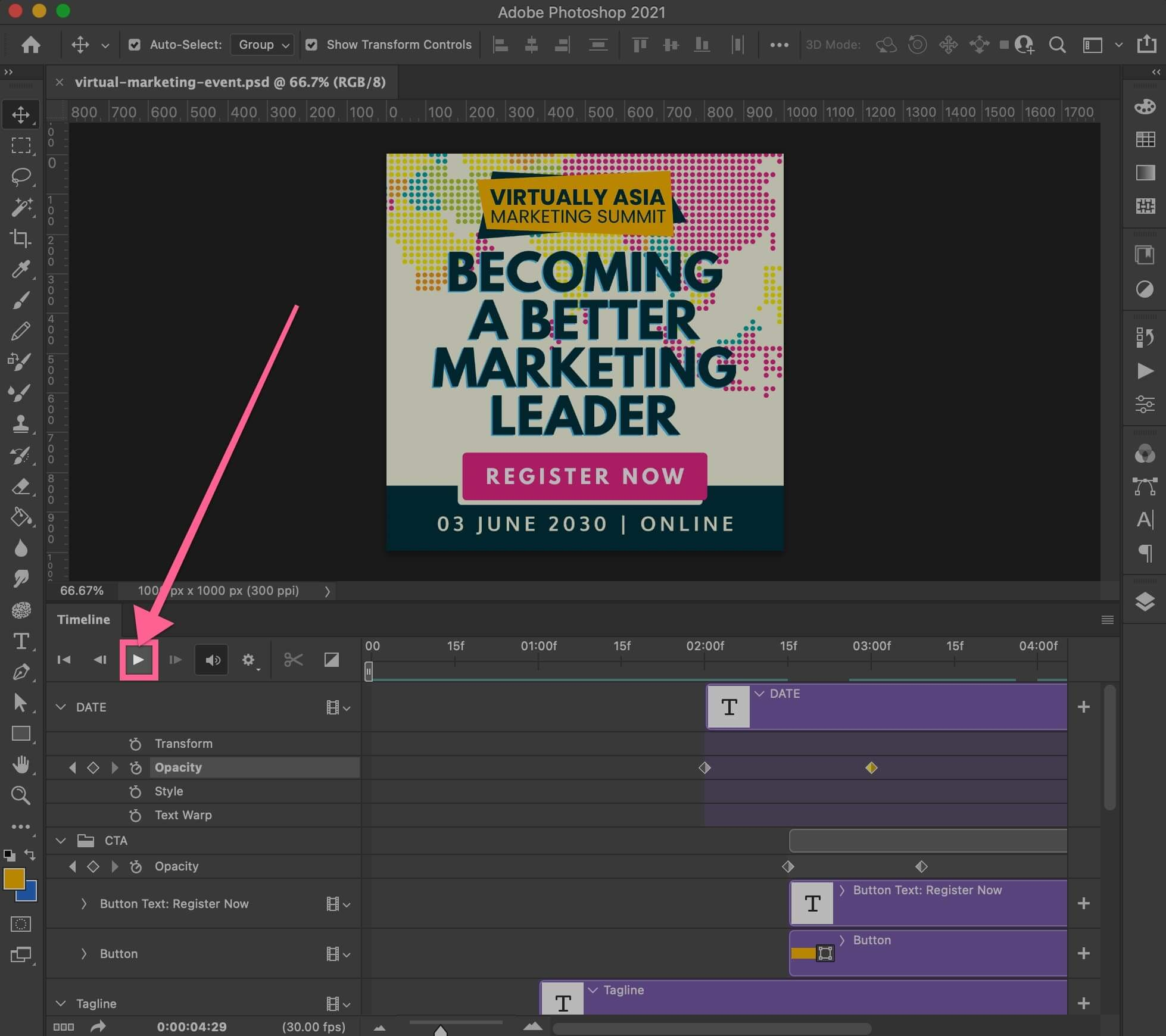 Preview and play your GIF animation in Photoshop Timeline