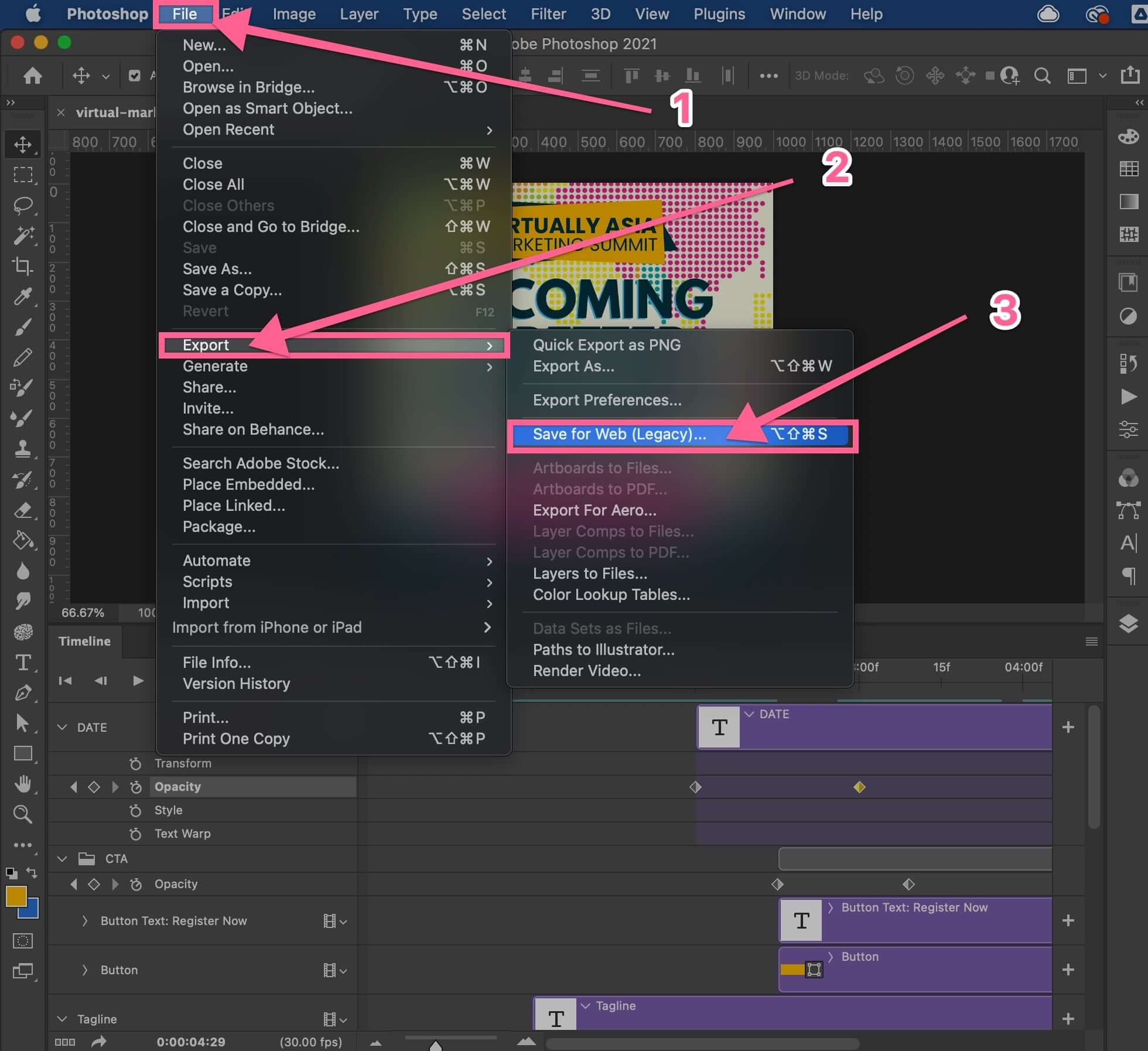 Export your PSD to GIF animation in Photoshop